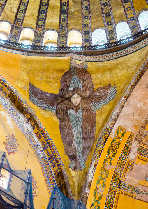 Seraphim rediscovered in 2010 as renovation removed the covering decoration in Hagia Sophia, Sultanahmet, istanbul, Turkey