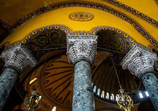 Pillars and arches inside Hagia Sophia, Sultanahmet, istanbul, Turkey