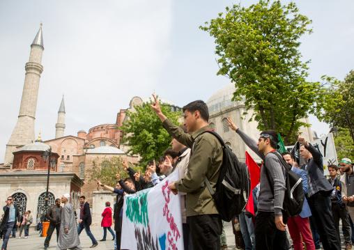 Demonstration of muslim brotherhood after egyptian court sentences 530 people to death, Marmara Region, istanbul, Turkey