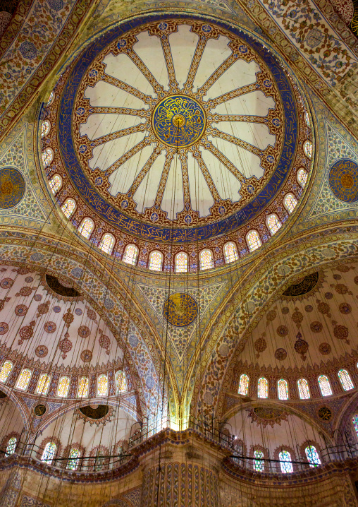 Interior low angle view of the sultan ahmed mosque or Blue mosque, Sultanahmet, istanbul, Turkey
