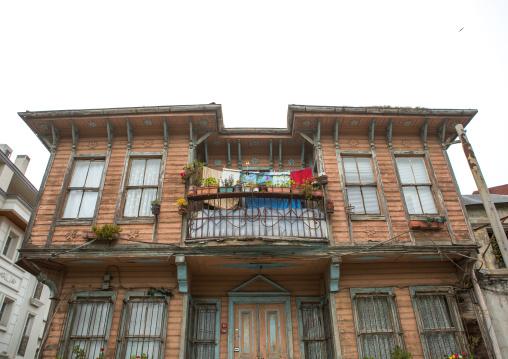 Old wooden style house with a balcony near the Bosphorus sea, Marmara Region, istanbul, Turkey