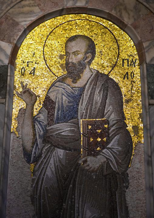 Mosaic of st Paul in the byzantine church of st. Savior in Chora, Edirnekapı, istanbul, Turkey