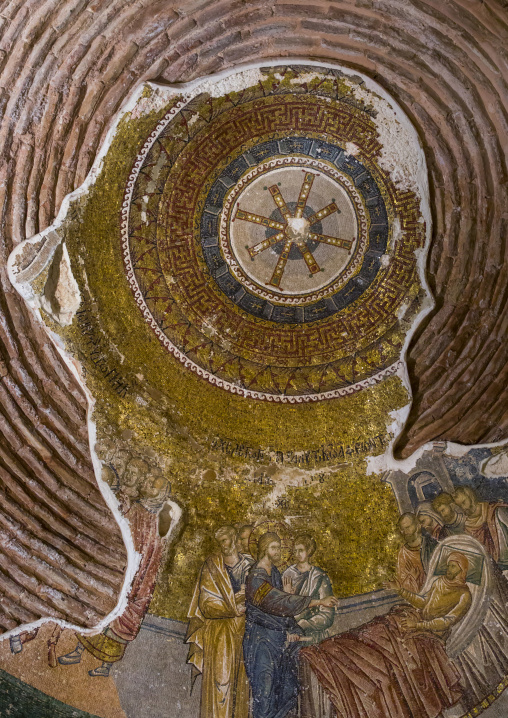 Ceiling with mosaics and paintings in the byzantine church of st. Savior in Chora, Edirnekapı, istanbul, Turkey