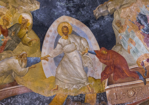 Detail from the fresco of the resurrection from the pareklission in the byzantine church of st. Savior in Chora, Edirnekapı, istanbul, Turkey