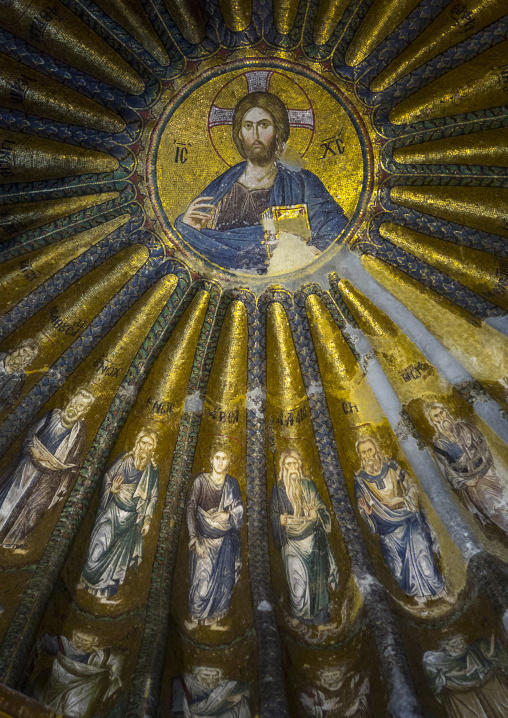 Mosaics and paintings of the christ in the byzantine church of st. Savior in Chora, Edirnekapı, istanbul, Turkey