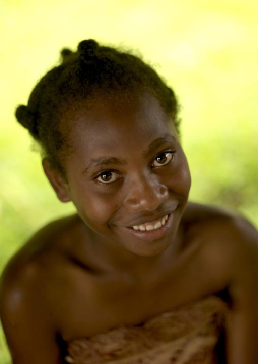 Smiling ni-vanuatu girl, Sanma Province, Espiritu Santo, Vanuatu