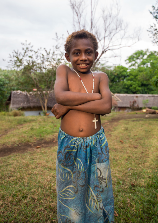 Portrait of a Ni-Vanuatu girl with a christian cross, Malampa Province, Malekula Island, Vanuatu