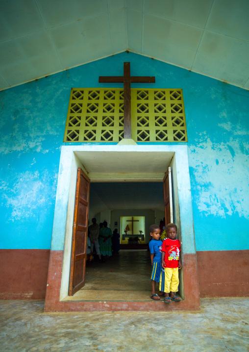 Children in front of a church on a sunday morning, Malampa Province, Malekula Island, Vanuatu