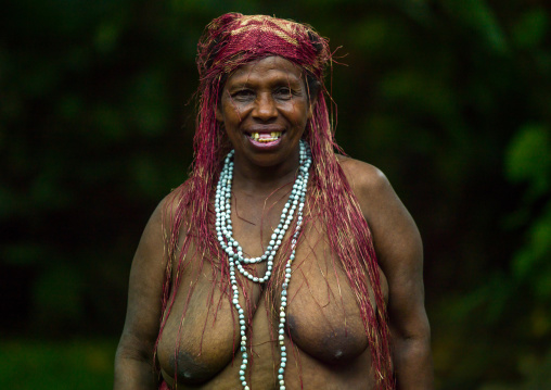 Portrait of a Big Nambas tribe woman with upper teeth removed as a tradition, Malampa Province, Malekula Island, Vanuatu