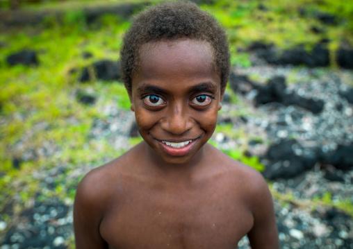 Portrait of a smiling child with Big eyes, Malampa Province, Ambrym island, Vanuatu