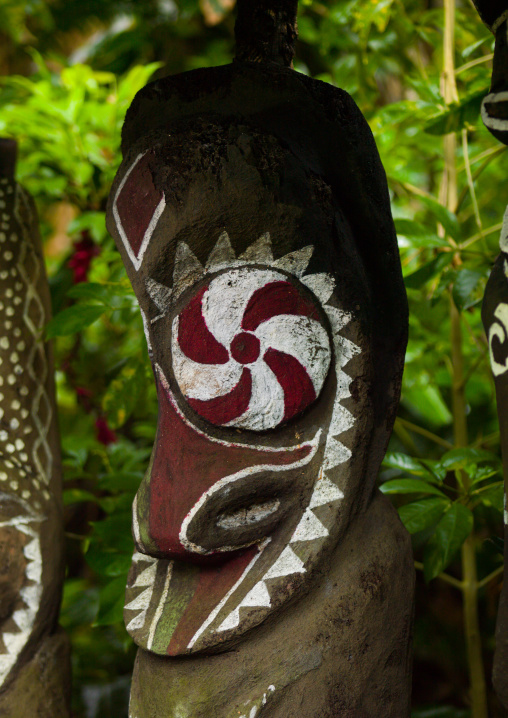 Painted slit gong drums in the jungle, Ambrym island, Olal, Vanuatu