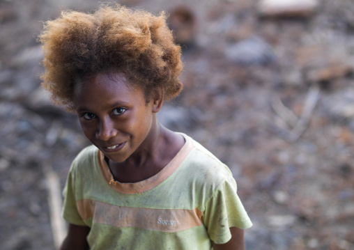 Ni-Vanuatu girl with blonde hair, Sanma Province, Espiritu Santo, Vanuatu