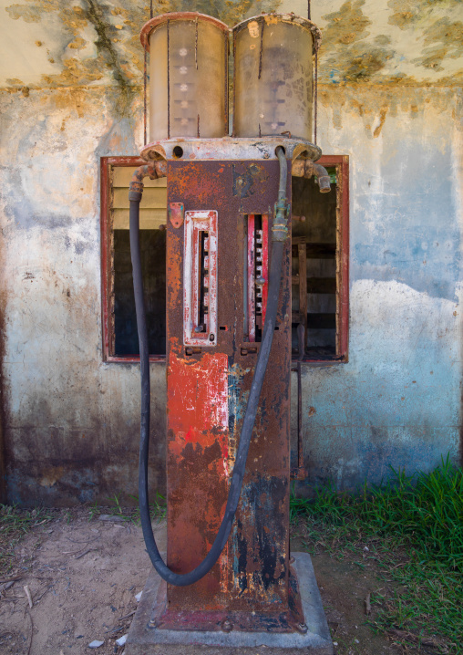 Rusty gas pump from the american army during the ww2, Sanma Province, Espiritu Santo, Vanuatu