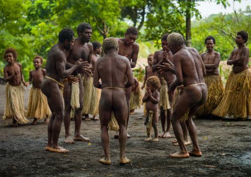 Big Nambas tribe dancing in a village, Tanna island, Yakel, Vanuatu