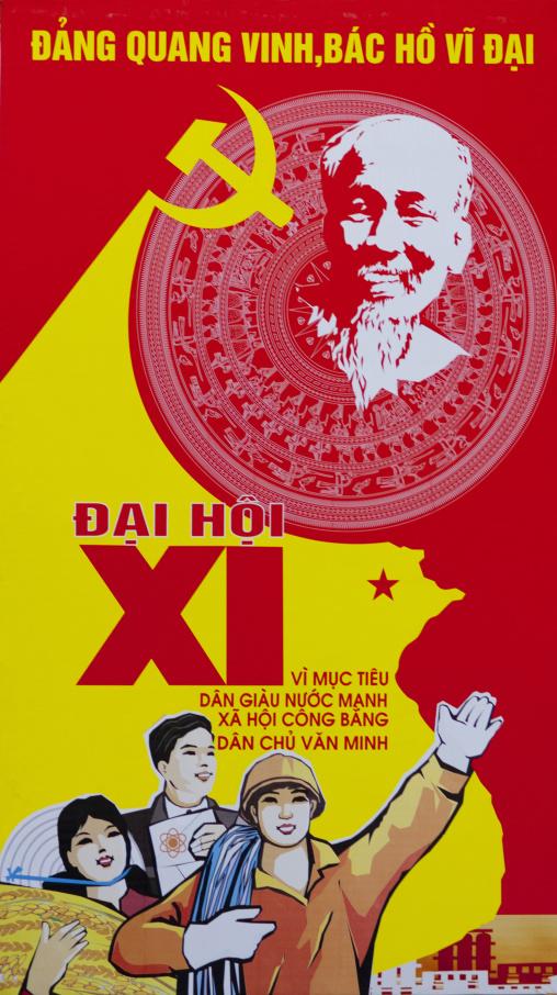 Propaganda poster of the communist party, Hanoi, Vietnam