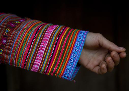 Sleeve of a flower hmong traditional dress, Sapa, Vietnam