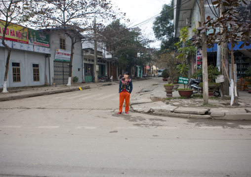 Woman in traditional clothes in the street, Sapa vietnam
