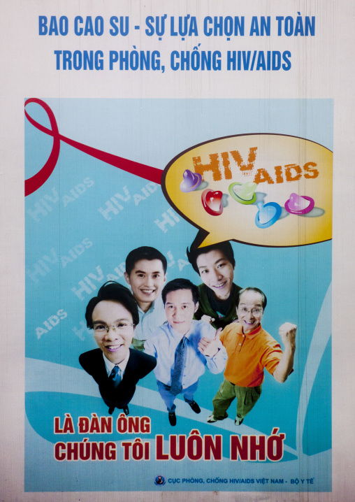 Poster of an awareness campaign against aids, Sapa, Vietnam