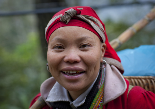 Red dzao woman with a red headscarf, Sapa, Vietnam