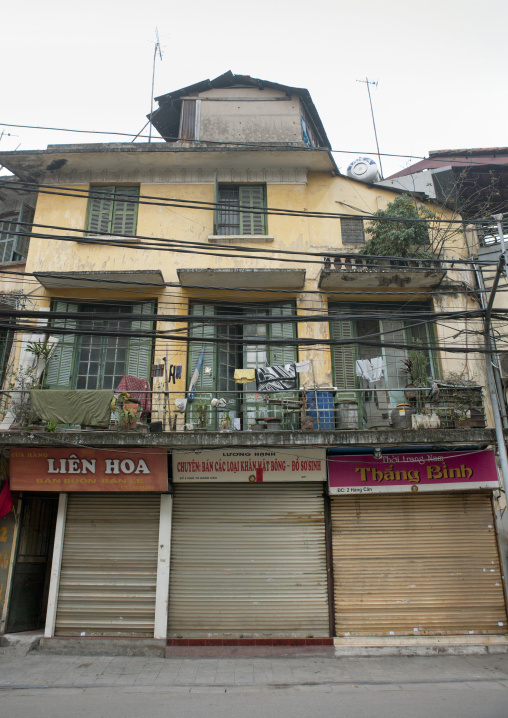 Shops closed on tet day, Hanoi, Vietnam