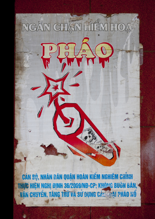 Poster warning about the dangers of firecrackers, Hanoi, Vietnam