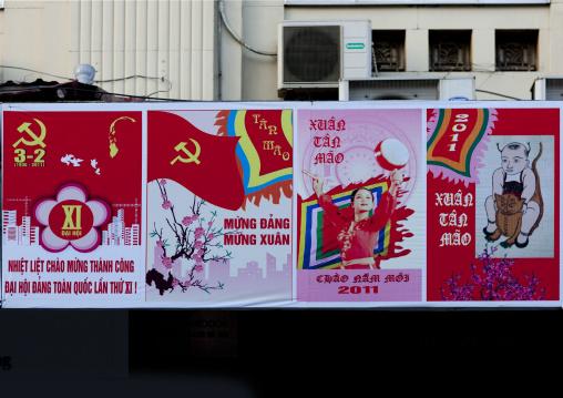 Propaganda signs of the communist party, Hanoi, Vietnam