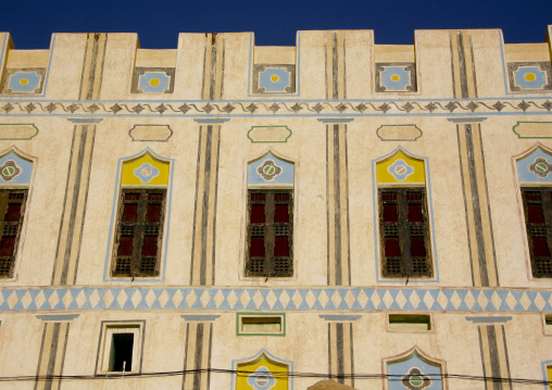 Front Of A Traditional Building Decorated With Colourful Paintings, Hadramaut, Yemen