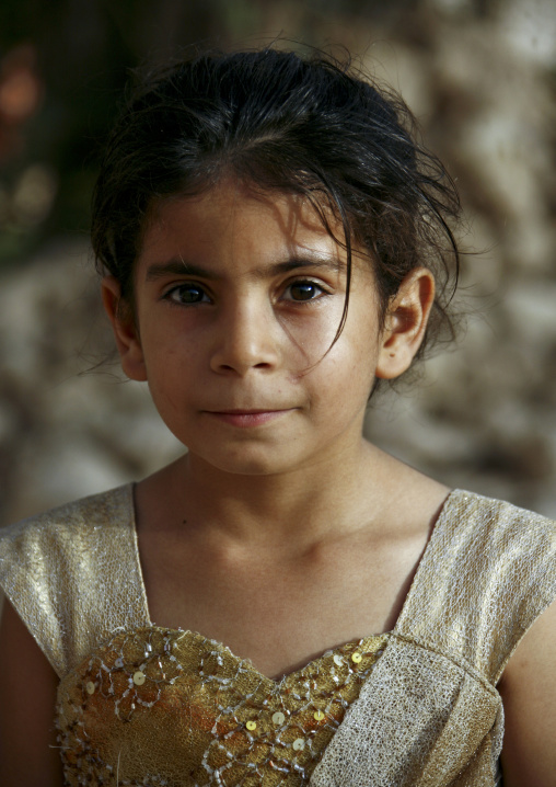 Portrait Of A Yemeni Girl With Goldy Heart Shaped Dress, Yemen