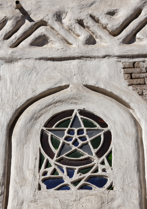 Stained Glass Window On The Front Of A Traditional Sanaa House, Yemen