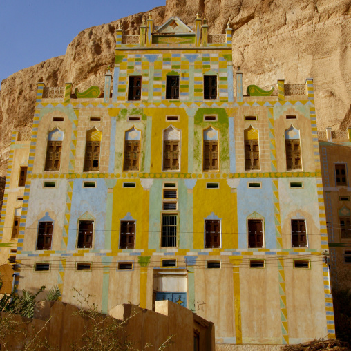 Front Of A Traditional Building Decorated Iwith Colourful Paintings, Hadramaut, Yemen