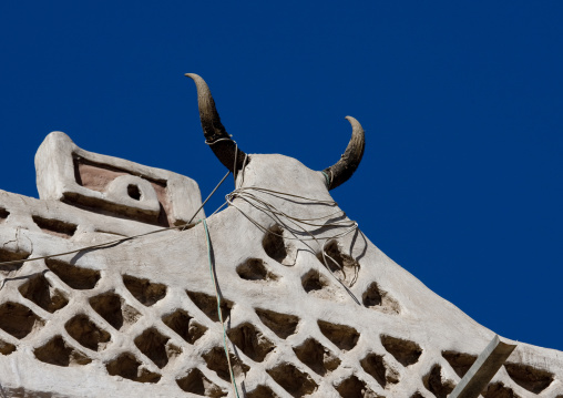 Ibex Horns On The Front Of A Traditional House, Sanaa, Yemen