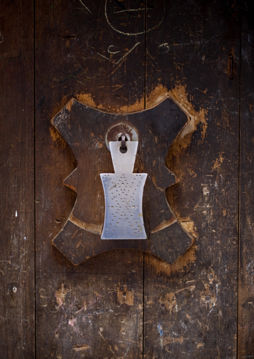 Iron Door Knocker On A Wooden Door In Sanaa, Yemen