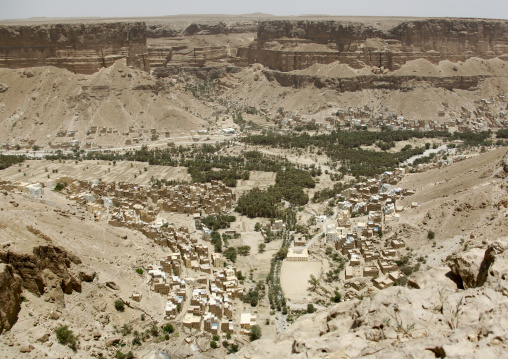 Aerial View Over Houses In An Oasis, Wadi Doan, Yemen