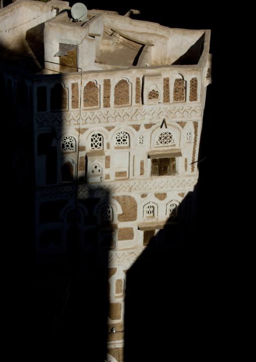 Traditional Building In The Shade, Sanaa, Yemen