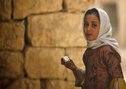 Young Yemeni Girl Eating A Boiled Egg, Amran, Yemen