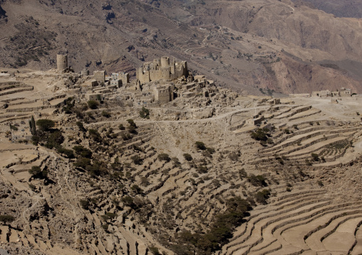 Landscape Of The Dry  Terrace Cultivation And Mountain, Hababa, Yemen