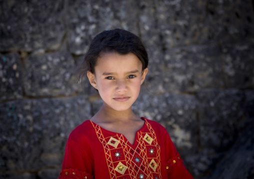 Young Girl In A Red Dress, Hababa, Yemen