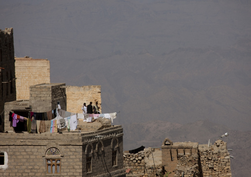 Clothes Hung To Dry On A Roof, Kholan Village, Yemen