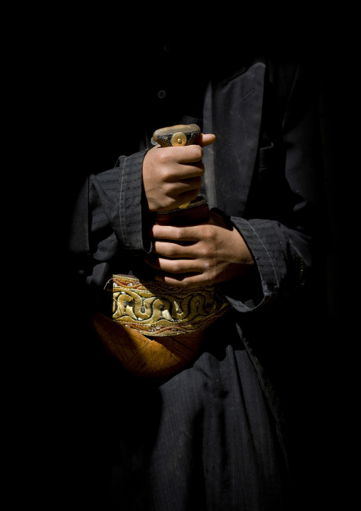 Close-up On The Hands Of A Man Holding His Jambiya, Thula, Yemen
