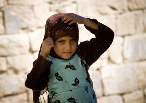 Girl Putting Her Scarf Straight, Thula, Yemen