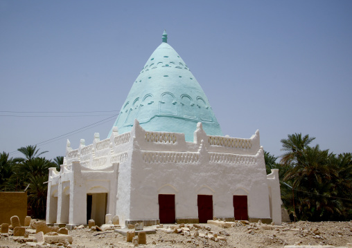 Muslim Tomb With Light Blue Cone Roof, Tarim, Yemen