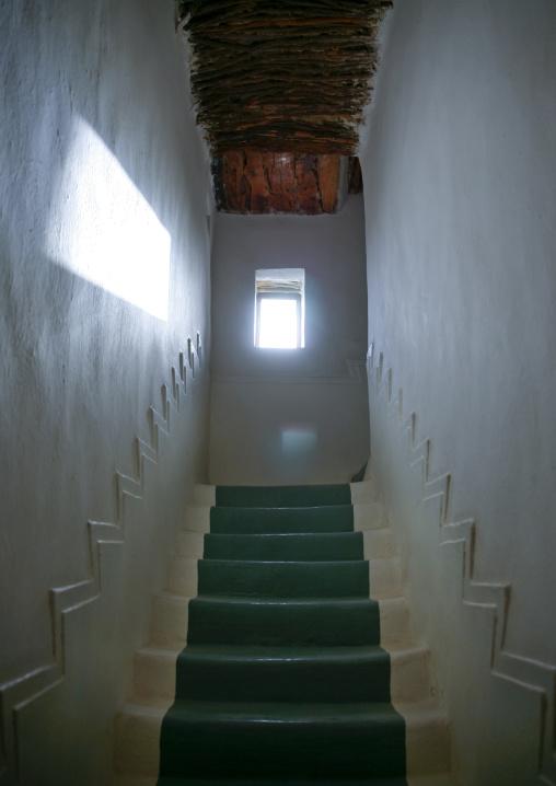 White And Green Painted Stairs In Al Hawatha Hotel, Shibam, Yemen