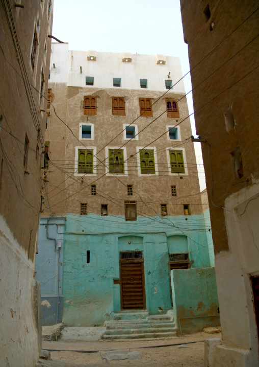 Turquoise Front Of A Five To Six Storey Building In The Old Town Of Shibam, Yemen
