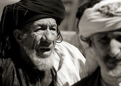 Black And White Portrait Of An Old Man In Thula, Yemen