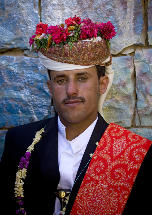 Young Groom With A Traditional Turban Full Of Flowers At His Wedding, Thula, Yemen