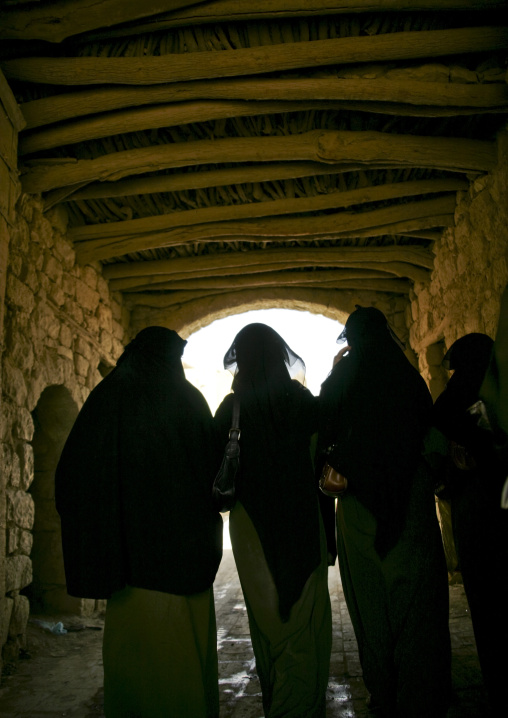 Veiled Women In A Covered Back Alley, Amran, Yemen
