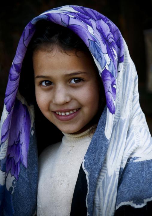 Smily Yemeni Girl Under A Purple Scarf, Amran, Yemen