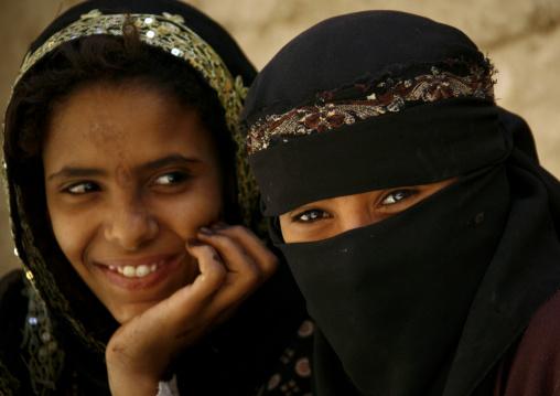 Two Amran Girls Smiling, Yemen