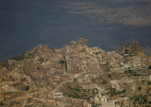 Fortified Village Of Shahara Merging With The Mountain, Yemen