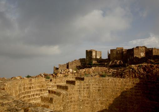 Fortified Village Of Shahara At Sunset, Yemen